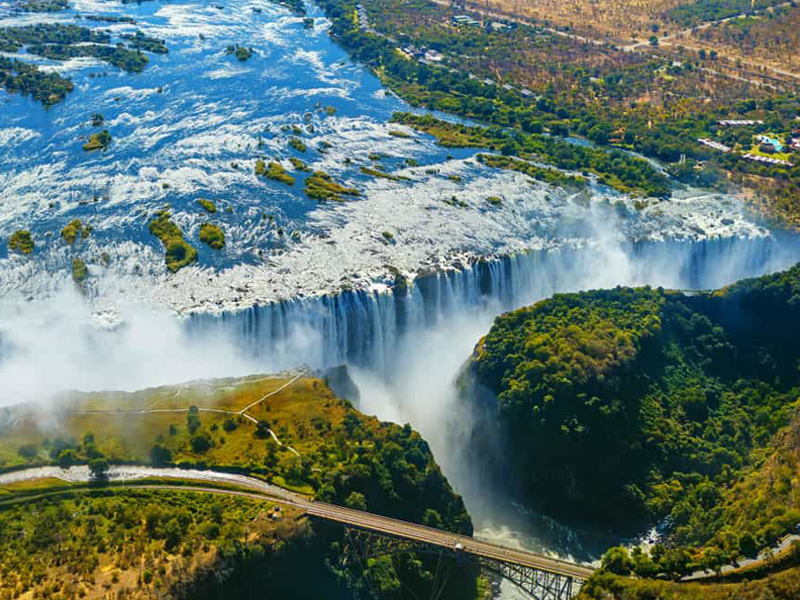 Pembury Tours - Victoria Falls - Aerial View - View the Falls