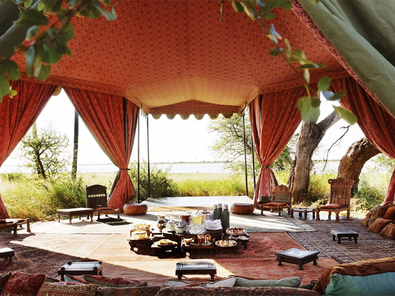 Pembury Tours - Jacks' Camp - Makgadikgadi Pans - Kalahari Desert - Gourmet Safari Dining - High Tea - Tent