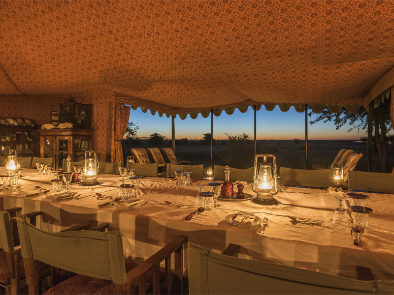 Pembury Tours - Jacks' Camp - Makgadikgadi Pans - Kalahari Desert - Gourmet Safari Dining - Dining Room at Night