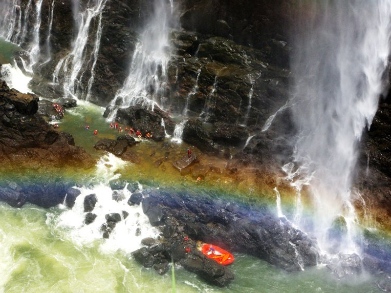 Pembury Tours - Zambia - Victoria Falls - Adventure Activities - Swimming Under the Falls - Aerial View